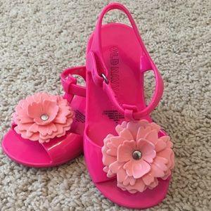 Hot Pink t-strap sandals